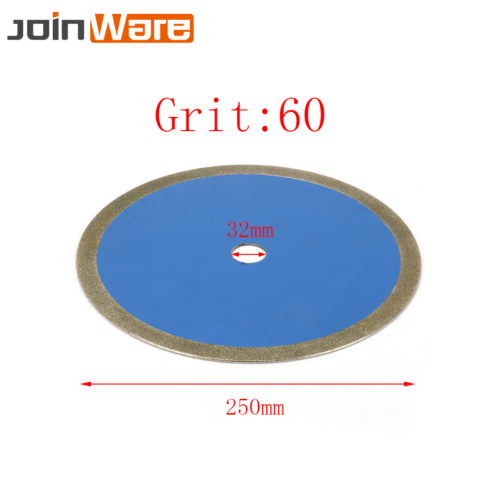 10 ''diamant coupe lame de scie galvanisé disque de meulage roue Abrasive pour Jade bijoux verre PVC tuyau 250x32x2mm