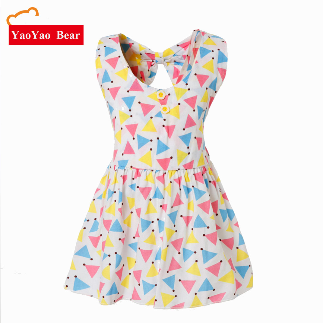 Baby Girls Dress New Fashion Sleeveless Crew Neck Princess Dress Princess Sleeve Dot Flower Print Kids Dresses Children Clothing