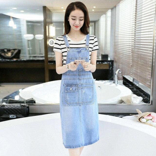 9015a043434 2019 Spring Summer Strap Denim Dresses Women Casual Jeans Sundresses Korean  Fashion With Pocket Denim Blue Dress E682