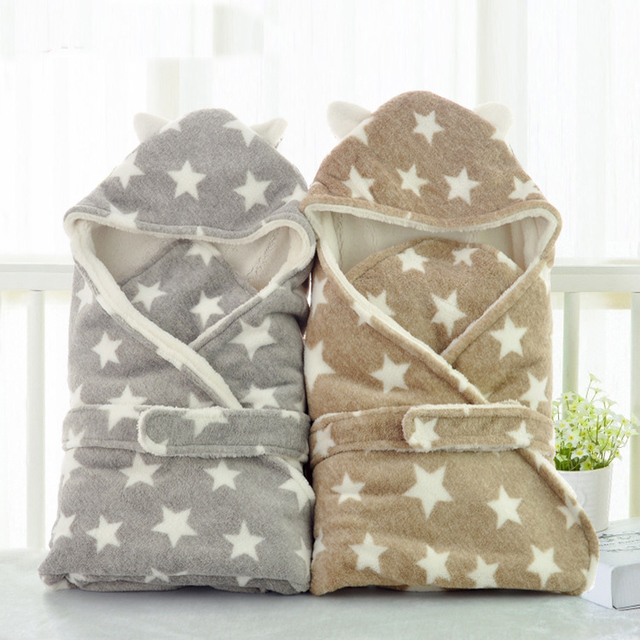 Faux Fur Blanket Baby Swaddle Wrap Winter Baby Blanket With White Fleece Star Pattern Toddler Bedding Baby Sleeping Bag