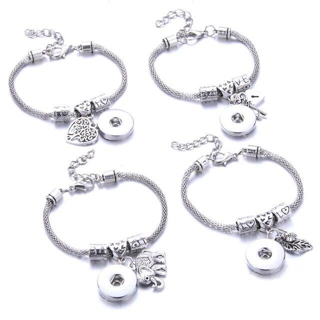 Neue Snaps Schmuck 4 Stil Silber Hummer Schnalle Schlange Kette Armreifen Perlen Snap Armband Fit 18 MM Snap Tasten Schmuck 2771
