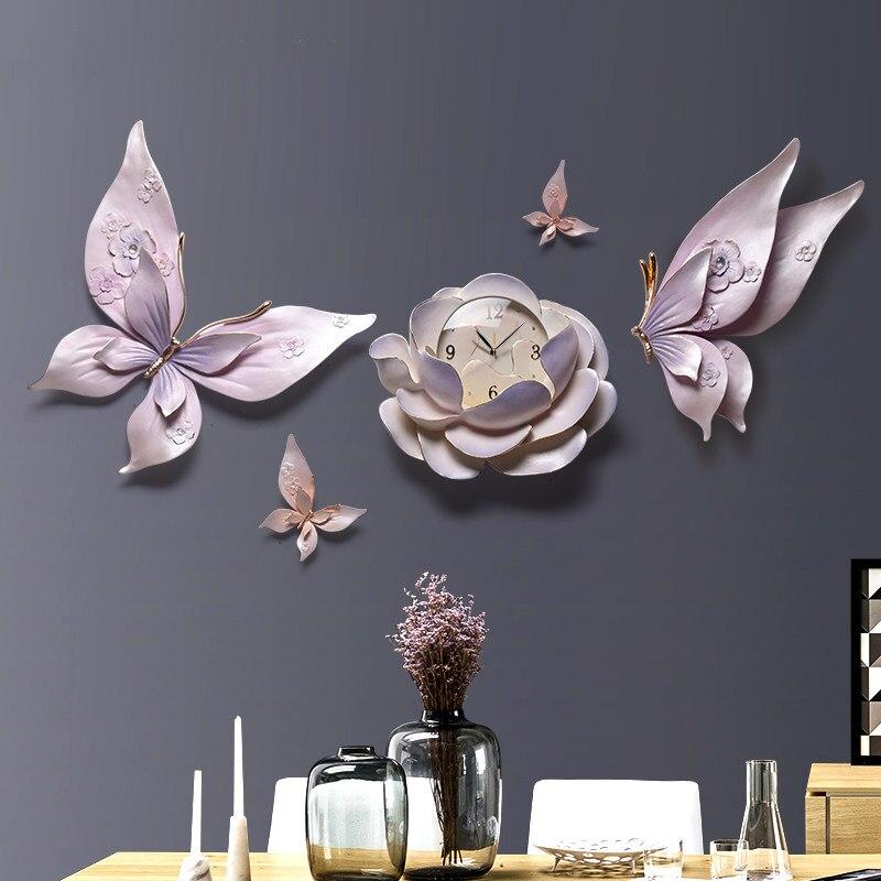 Relojes de pared estéreo 3D de personalidad de lujo flor para colgar en pared decoración de mariposas artesanías sala de estar KTV murales de pared