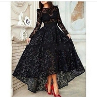 2016 the new designer black lace long sleeve Arabic gowns Arab dress DF45698 low short dress in front of the back dubai