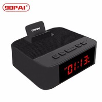 90PAI 4.2 Bluetooth Speaker Portable Wireless Loudspeaker With Mobile Phone Holder Time Display Support Voice Calls, TF Card