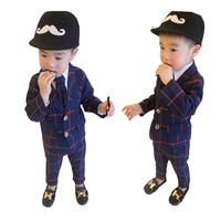 Formal Boys Wedding Birthday Party Suits Plaid Coat + Pants Gentleman Kids Clothes for Boy Spring Autumn Children Clothing Set