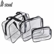 3Pcs Cosmetic Bag Set Fashion Transparent Beauty Bag Waterproof Handbags Wash Bags Ladies Make Up Bag SC0328