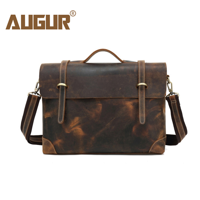 81945e497cfb US $105.8 |AUGUR Genuine Leather Male Executive Briefcase Horse Leather  Messenger Handbags Men Business 14inch Laptop Bag maletin hombre-in  Briefcases ...