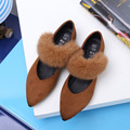 Pointed Toe Woman Shoes Rabbit Fur Strap Hollow Out Elegant Flats For Womens Suede Shallow Mouth Winter Shoes Ladies Solid Color