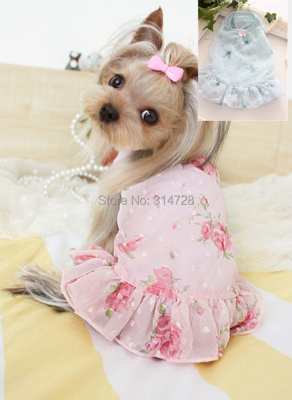 Pengiriman gratis sifon bunga beruang kecil anaknya teddy pesta pakaian anjing gaun hewan peliharaan dropshipping perro Mascotas roupa cachorro