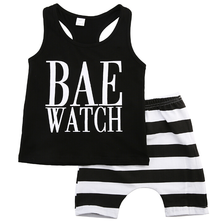 Sleeveless Striped Clothes Infants Baby Girls Boys Kids Tops Vest Shorts Vest 1-6 Years Summer