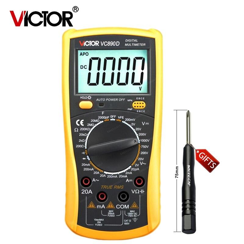 VICTOR New VC890D Digital Multimeter True RMS multimeter capacitor 2000uF Backlight Tools  цены
