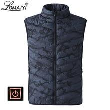 LOMAIYI erkek USB ısıtmalı yelek erkekler kış kamuflaj kolsuz ceket erkek streç sıcak yelek Mens pamuk jile Homme AM360