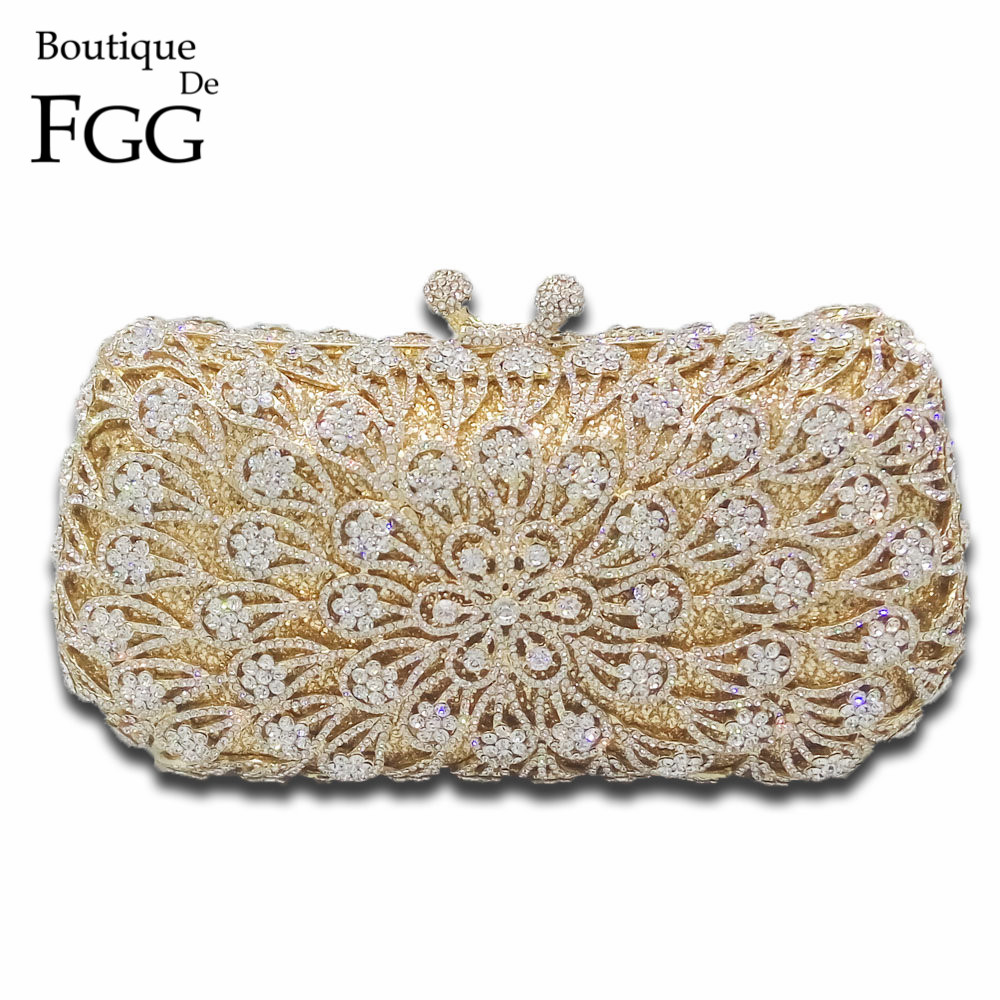 Gold Plated Clear Crystal Diamond Women Evening Bag Metal Clutches Bag Wedding Party Bridal Clutch Purse Chain Shoulder Handbags women custom name crystal big diamond clutch crossbody chain bag women handbags evening clutch bag 1001bg