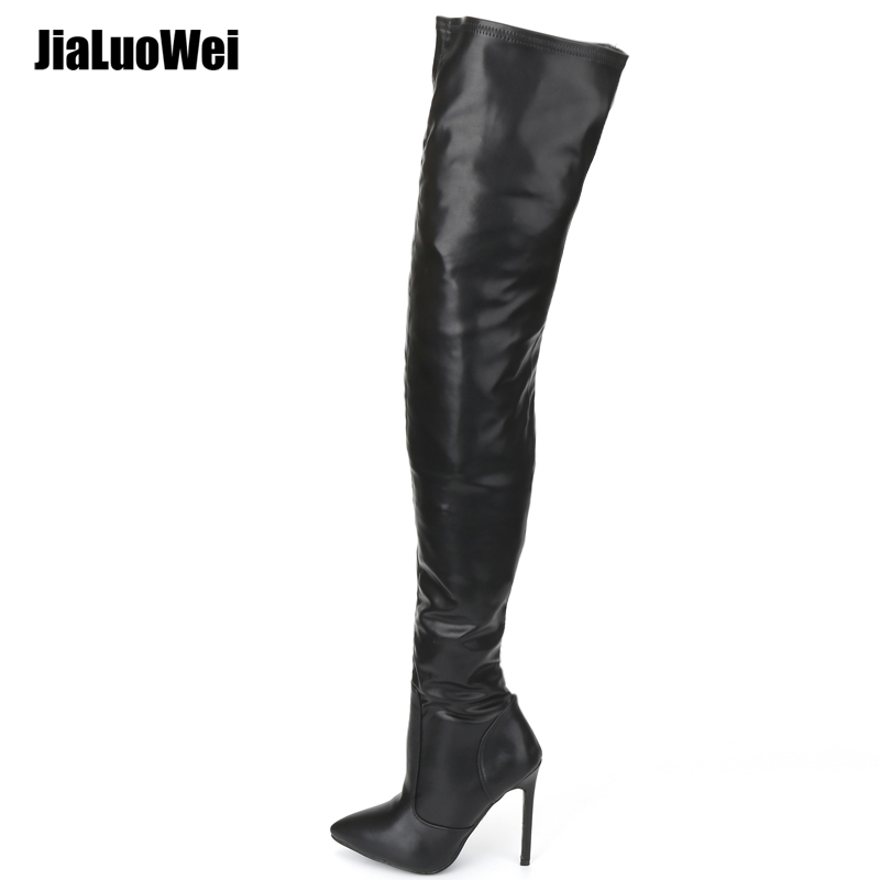 f77ea4faca6 jialuowei Thigh High Boots Stiletto Heels Sexy Full Zipper Over-the-knee  Long Boots
