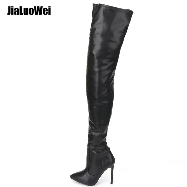 Black Wrap Around Strappy Thigh High Heel Boots Faux Leather