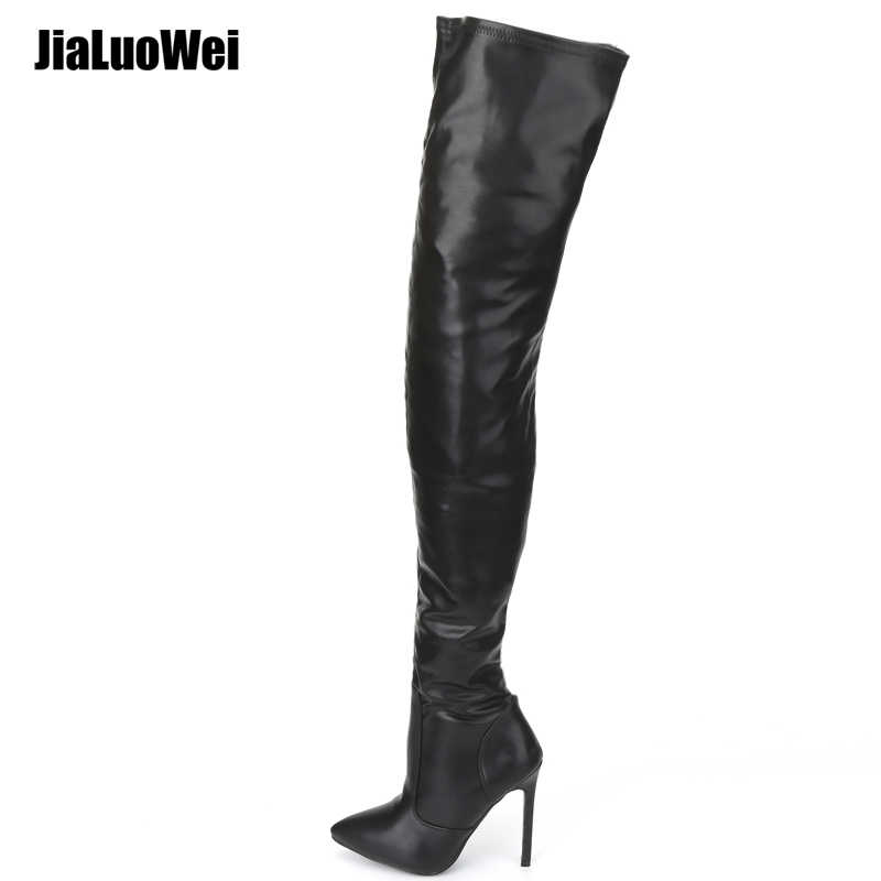 98574a8ad92 jialuowei Thigh High Boots Stiletto Heels Sexy Full Zipper Over-the-knee  Long Boots