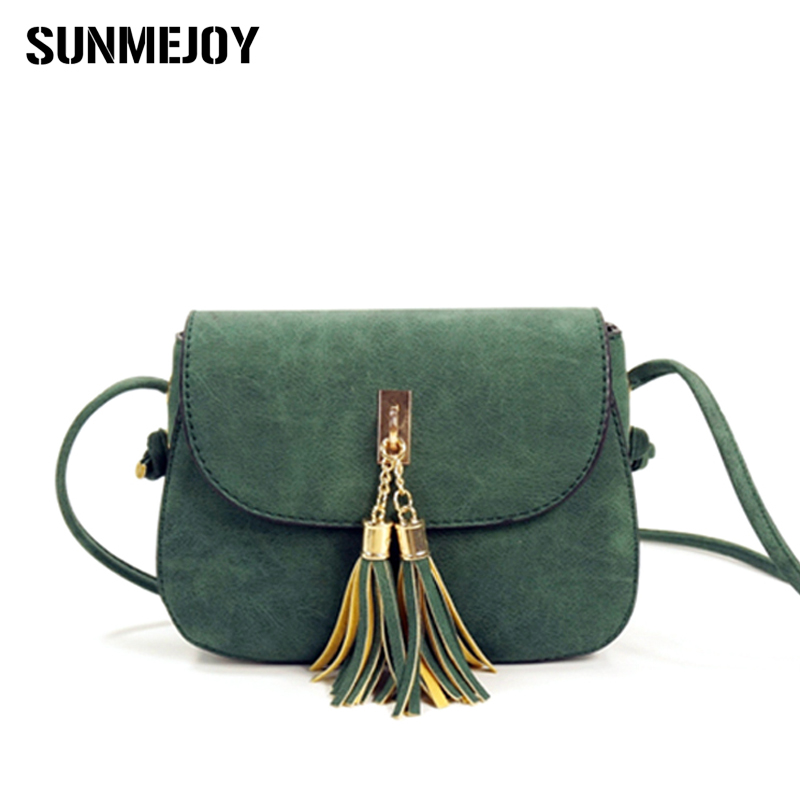 SUNMEJOY Vintage Women Scrub Leather Handbag Ladies Clutch Messenger Bag Small Tassel Shoulder Bags Crossbody Bag Bolsa Feminina new fashion women pu leather shoulder bags vintage tassel female messenger bag ladies handbag clutch bags bolsa feminina dec28