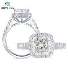 DovEggs Vintage Sterling Solid 925 Silve Center 2ct 7.5mm Cushion Cut HI Color Created Moissanite Halo Engagement Ring for Women