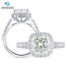 DovEggs anillo de compromiso de Halo de moissanita para mujer, Sortija de plata de ley 925, Centro de seda 2ct, 7,5mm
