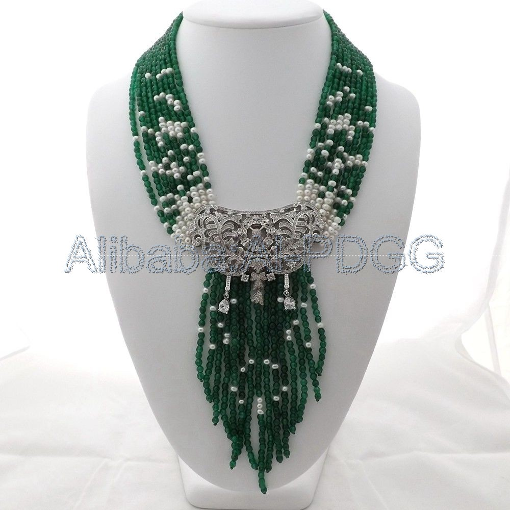 19 Green Stone Pearl Necklace CZ Pendant 20 23 7 strands green stone necklace cz pendant