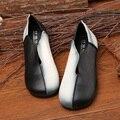 La primavera y El Otoño de Nueva Original Del Arte de la Vendimia A Mano solo Xiesen Departamento de zapatos plana redonda de cuero femenino de cuero superficial