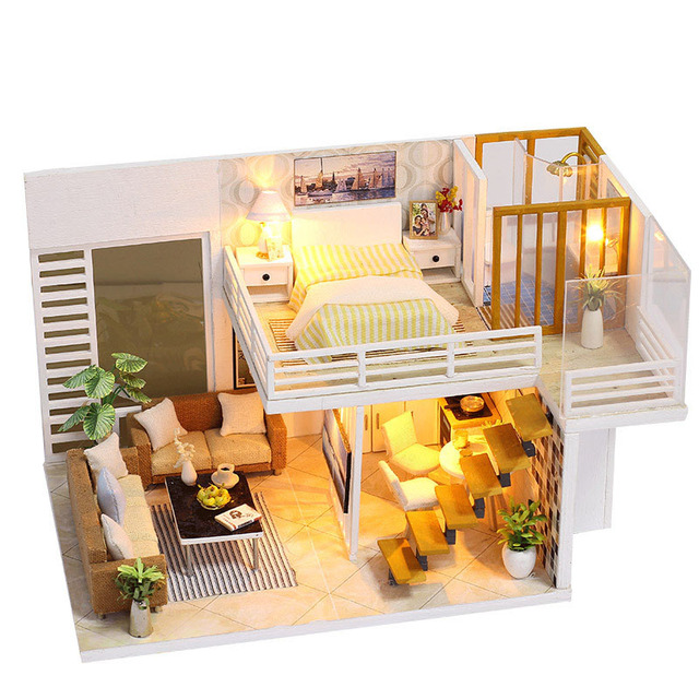 Simple Design Dollhouse With Led Lights Miniature Furniture Kits Diy Wooden Dolls House Craft Model Puzzle