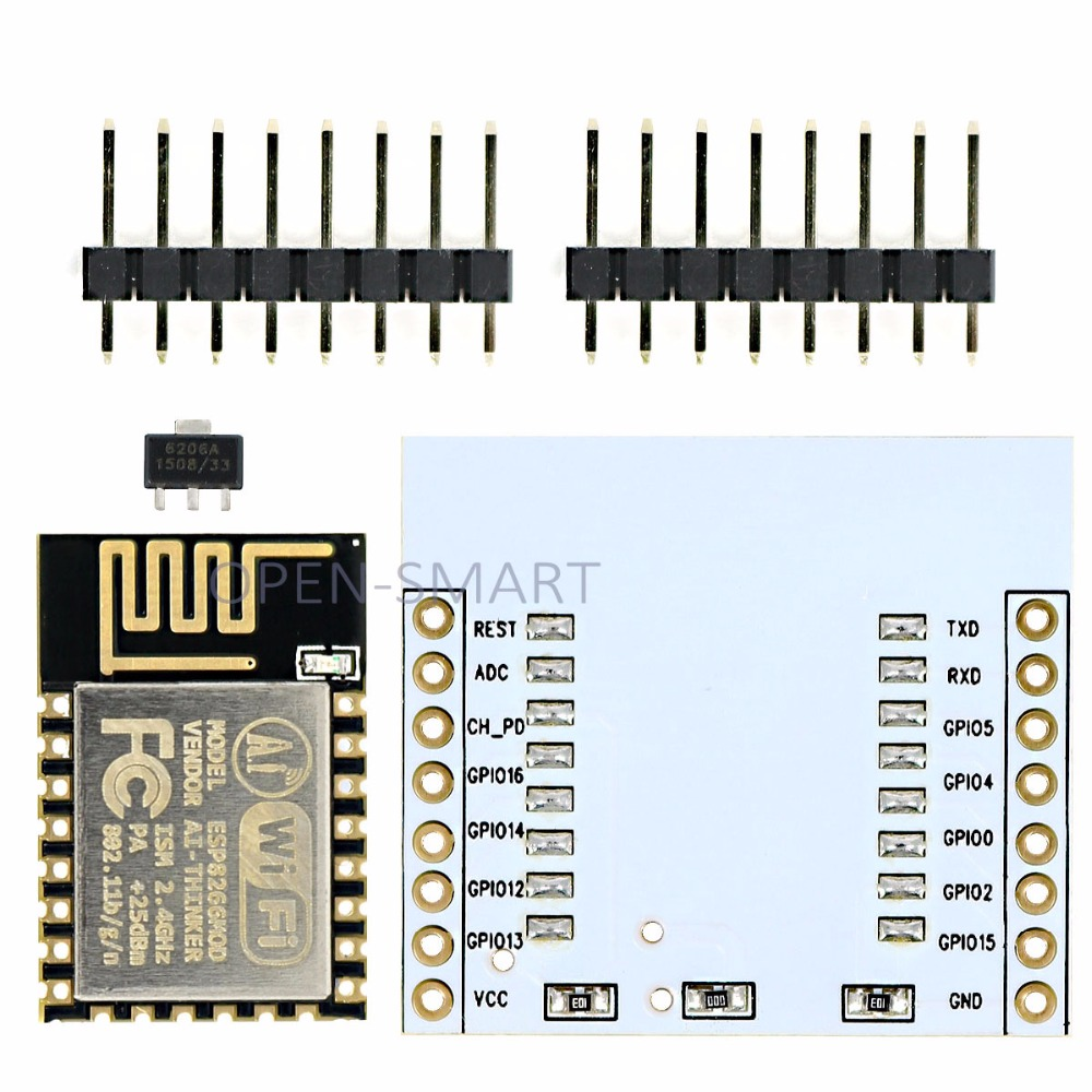 ESP-12E ESP8266 Wifi Wireless Transceiver Module With PCB Antenna + Adapter Board For Arduino / RPi