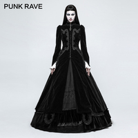 PUNK RAVE Gothic Palace Swallow Tail Embroidery Velveteen Long Wool Blends Coats Vintage Pattern Party Halloween Christmas