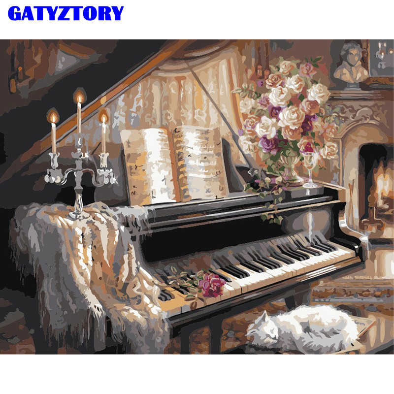 Frameless Picture Piano DIY Painting By Numbers Still Life Modern Wall Art Hand Painted Oil Painting On Canvas For Home Decor