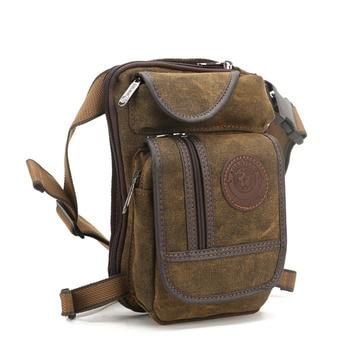 Men Canvas Waist Drop Leg Bag Thigh Hip Belt Bum Fanny Pack Military Tactical Travel Riding Motorcycle Messenger Shoulder Bags 3