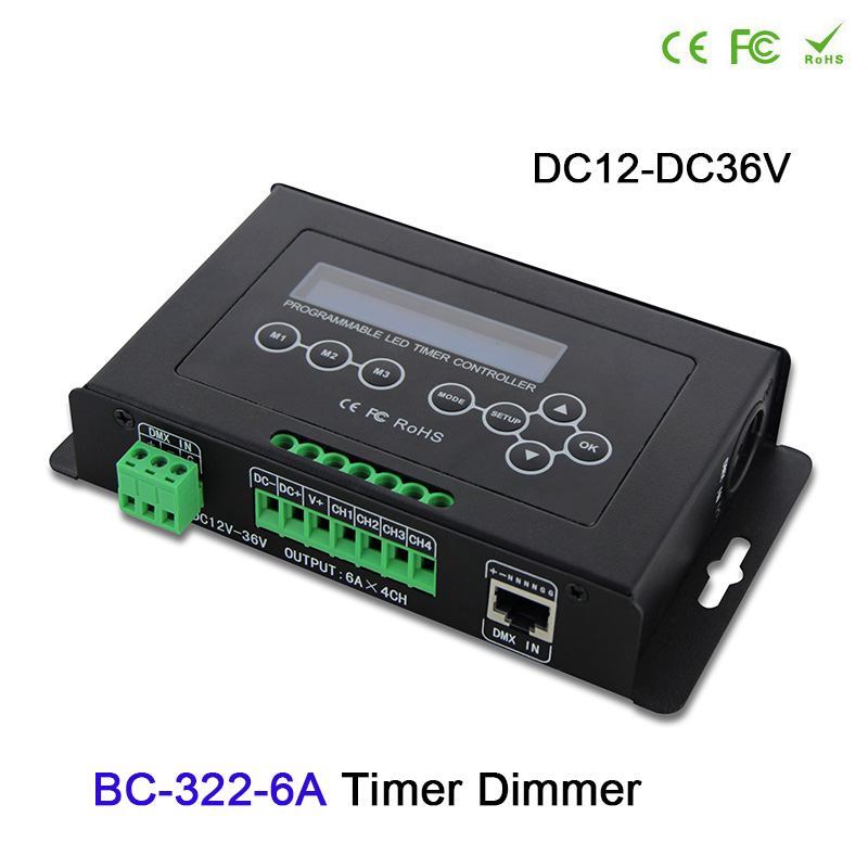 Timer LED Dimmer Aquarium Controller Led Strip Light Controller DMX 512 input Programmable with LCD display Built-in clock syste