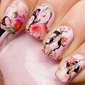 Nail Sticker Calcomanías Pintura Tradicional China Belleza Aspara Melocotón Plano Patrón