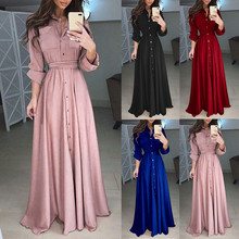 Robe Maxi-Dress Lapel Long-Sleeve Elegant Sexy Winter Womens Casual Autumn Soft-Touch