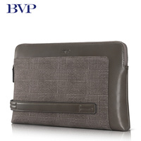 2017 Brand High Quality Man clutch Genuine Leather Business Plaid Zipper Long Clutch Wallets Cow Leather Gray Fashion Handbag 50