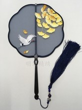 Fine Hand Double- side Suzhou Embroidery Craft Fan Decorative Mulberry Silk Women Ebony Handle Chinese Fans Luxury Gift