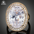 AZORA Gold Plated Egg Shaped Clear Cubic Zirconia Engagement Ring TR0139