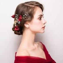 Фотография New Bride Headdress Jewelry Wedding Flower Rose Red Hair Accessories Handmade Nice Beaded Hair Claws Golden Plating Barrettes