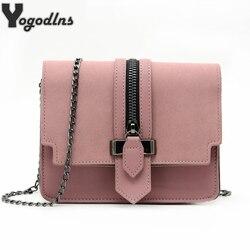 Модная матовая сумка-мессенджер из искусственной кожи высокого качества дамская сумочка с откидным верхом на цепочке сумка на плечо Женска...