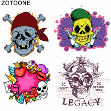 ZOTOONE Skull Patches Punk Style Iron on Transfer for Clothing Print T-Shirt Diy Accessory Decor Washable Appliques C