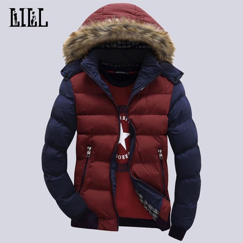 9 Färg Mode Märke Vinter Mäns Down Jacket Med Fur Hood Hatt Slim - Herrkläder - Foto 4