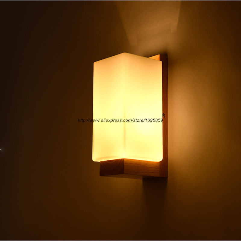 free shipping modern wood wall lamps lights bedroom milk glass square wall sconces - Wall Lamps For Bedroom