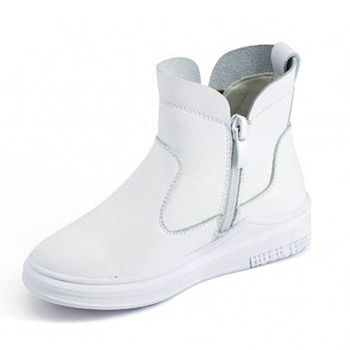 Thick Platform Childrens Shoes Real Leather Shoes For Girls 2018 New White Kids Slip On Zip Sapatos Menina Buty Dla Dziewczynki