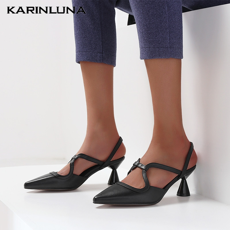 Karinluna New Fashion Dropship Cow Leather Pointed Toe Summer Sandals Woman Shoes Slip On Strange Style Lady Pumps Woman ShoesKarinluna New Fashion Dropship Cow Leather Pointed Toe Summer Sandals Woman Shoes Slip On Strange Style Lady Pumps Woman Shoes