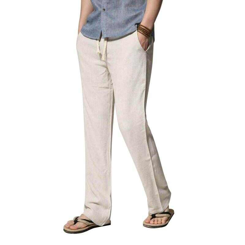 6162c8011b0 SHAN BAO brand men s thin section loose straight men s linen casual pants  2019 summer large size