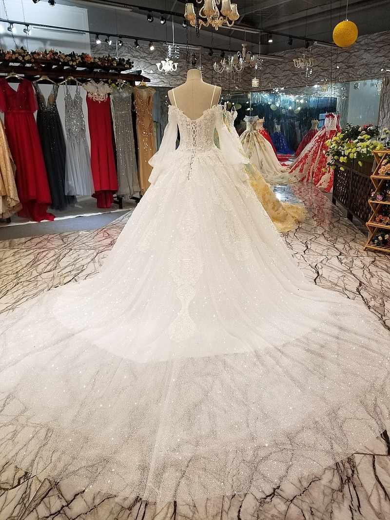 LS64747 свадебное платье с рукавамиТюль Фонарь рукава Милая Блестящий нарядное платье с блестками пышное свадебное торжественное платье с длинным шлейфом реальная цена