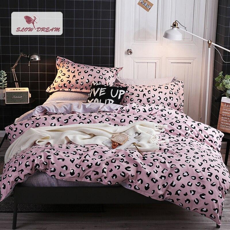 SlowDream Leopard Pink Bedding Set Pillowcase Duvet Cover Bed Linens Flat Sheet For Adult Child Decor Home Textiles Bedclothes