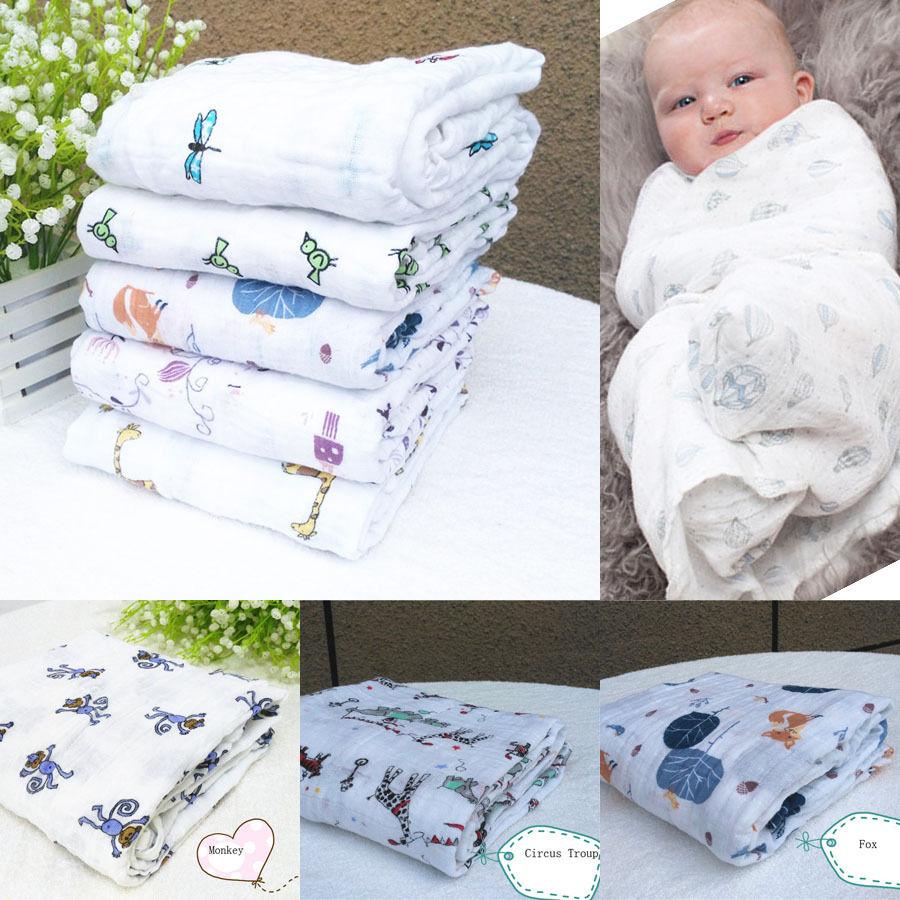 3 Style New Cute Nursery Muslin Baby Monkey/Circle/Fox Pattern Swaddling Blanket Newborn Infant Soft Swaddle Towel