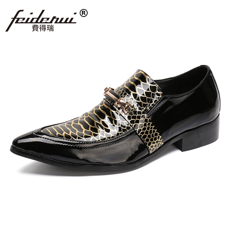 Plus Size Italian Alligator Handmade Man Wedding Party Loafers Patent Leather Pointed Toe Slip on Mens Luxury Runway Shoes SL61Plus Size Italian Alligator Handmade Man Wedding Party Loafers Patent Leather Pointed Toe Slip on Mens Luxury Runway Shoes SL61