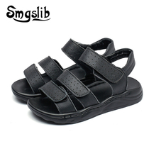 Boy Beach Sandals Children Genuine Leather Casual Sandals 2019 Summer Baby Toddler High-quality Kids Party Soft Black Shoes цена