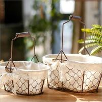 Iron Storage Basket Bags Hanging Flower Pot Planter Woven Dirty Laundry Hamper Storage Basket Home Decor